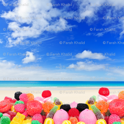 candies on the beach