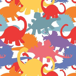 Primary Colors Dinosaurs on White