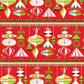 Carnival Ornaments on Red- Large