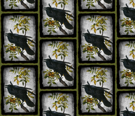 Common Raven, Old Male fabric by craftyscientists on Spoonflower - custom fabric