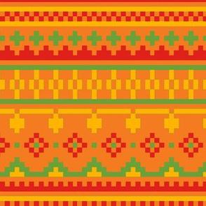 winter knit orange green