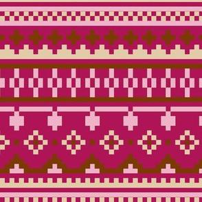 winter knit pink beige brown