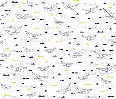 Paper boats (b&w and yellow)
