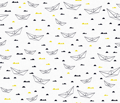 Paper boats (b&w and yellow) fabric by les_motifs_de_sarah on Spoonflower - custom fabric