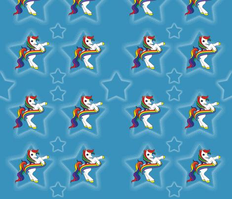 Rainbow Ponies Blue fabric by gnarllymamadesigns on Spoonflower - custom fabric