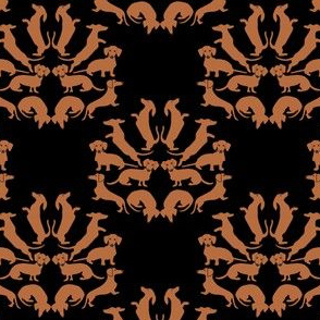 Doxie Damask Tan on Black