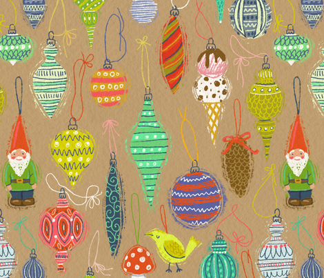 Ornaments on Craft Paper fabric by kirsten_sevig on Spoonflower - custom fabric