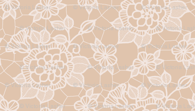 cream lace flower on mocha - mini