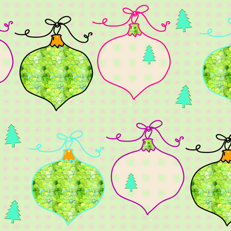Christmas Tree Ornaments | Green and Cream  fabric by bohobear on Spoonflower - custom fabric