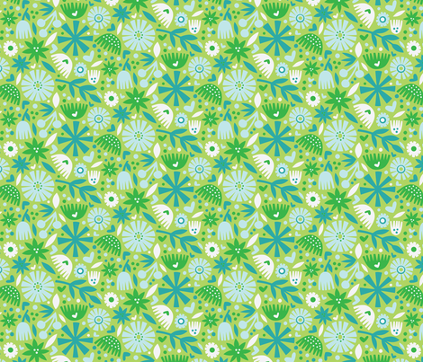 Holiday Floral - Blues fabric by emilydyerdesign on Spoonflower - custom fabric