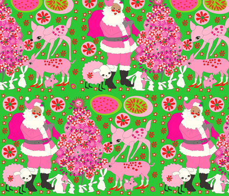 Pink Santa fabric by orangefancy on Spoonflower - custom fabric
