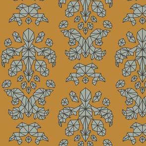 Geometric Brocade Orange and Grey