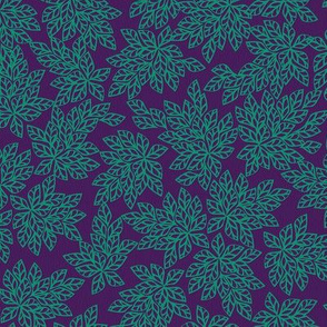 Blazing Leaves - teal on purple