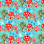 Bunny & birds // toadstool forest