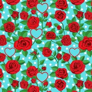 Valentines Red Roses and hearts