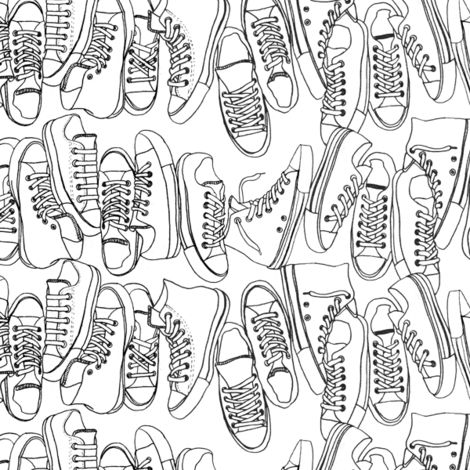 All-Stars (Color-Your-Own) || coloring book sneakers tennis shoes fashion sports geek chic punk emo fabric by pennycandy on Spoonflower - custom fabric