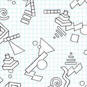 Geekometric (Color-Your-Own) || 80s retro geometric math shapes 3d geek nerd graph paper grid