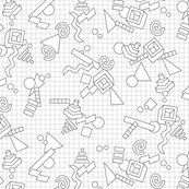 Geekometric (Color-Your-Own) || coloring book 80s retro geometric math shapes 3d geek nerd graph paper grid black and white