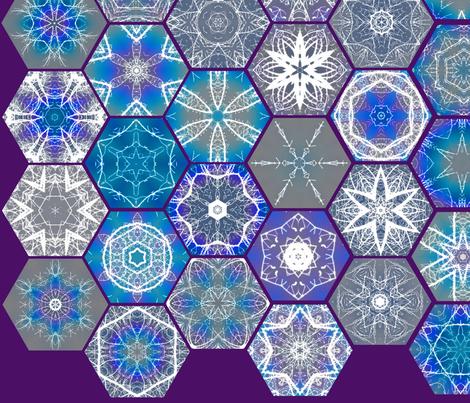 Snowcatcher Rainbow Lightning Hexies fabric by snowcatcher on Spoonflower - custom fabric
