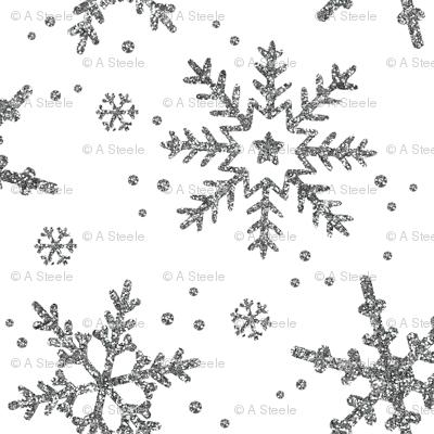 Snowflake Shimmer on White