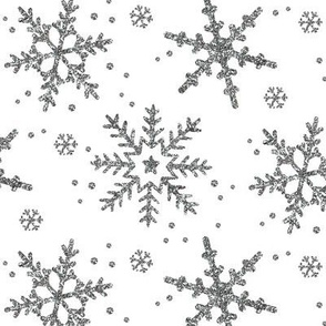 Snowflake Shimmer on White
