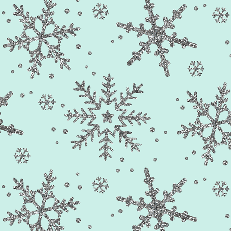 Snowflake Shimmer in Mint fabric by willowlanetextiles on Spoonflower - custom fabric