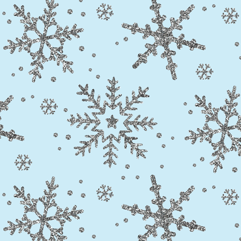 Snowflake Shimmer in Icy Blue fabric by willowlanetextiles on Spoonflower - custom fabric