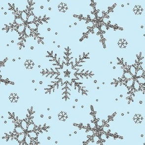 Snowflake Shimmer in Icy Blue