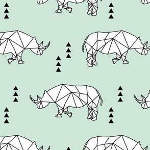 Geometric Rhino //  mint