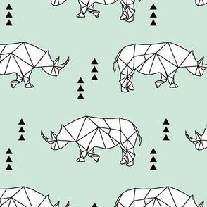Geometric Rhino //  mint