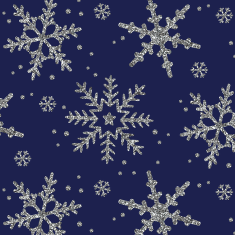 Snowflake Shimmer in Navy fabric by willowlanetextiles on Spoonflower - custom fabric