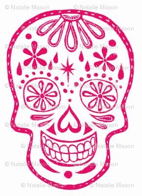 Sugar Skulls - Pink on white