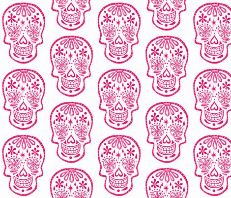 Sugar Skulls - Pink on white fabric by natalievmason on Spoonflower - custom fabric