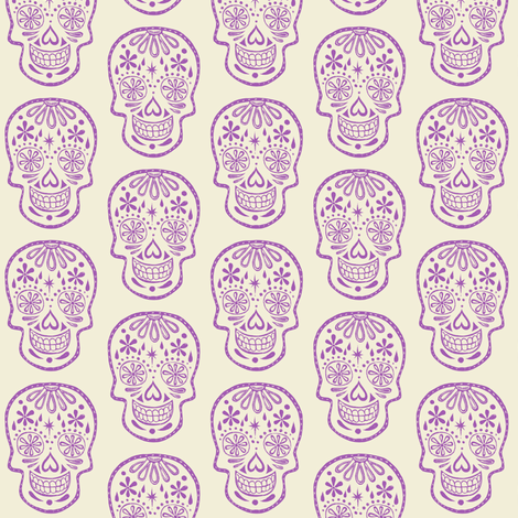 Sugar Skulls - Lavender fabric by natalievmason on Spoonflower - custom fabric