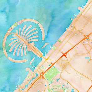 dubai watercolor map sized 18x18