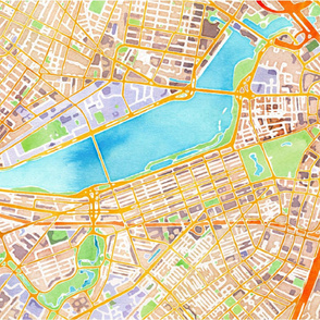 Boston watercolor map * blanket size*