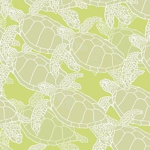 Sea Turtles on Lime Green