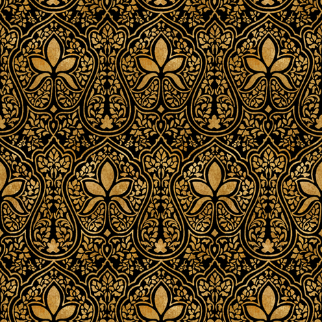 Rajkumari ~ Black and Gilt Gold ~ Batik  fabric by peacoquettedesigns on Spoonflower - custom fabric
