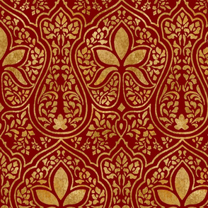 Rajkumari ~ Claret and Gilt Gold ~ Batik