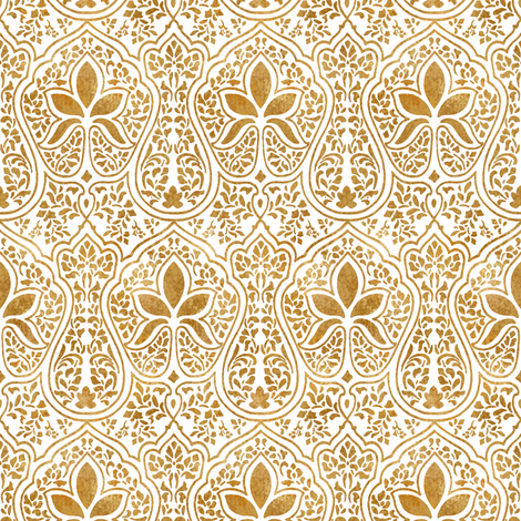 Rajkumari White And Gilt Gold Batik Fabric By Peacoquettedesigns On Spoonflower