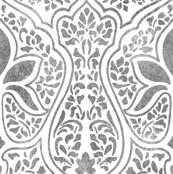 Rajkumari ~ White and Silvered ~ Batik