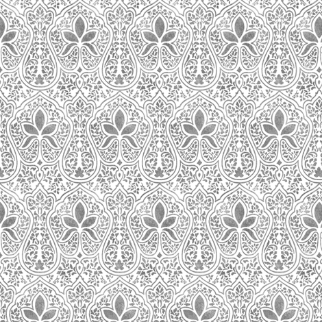Rajkumari ~ White and Silvered ~ Batik  fabric by peacoquettedesigns on Spoonflower - custom fabric