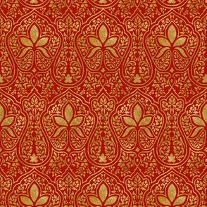 Rajkumari ~ Turkey Red and Gilt Gold ~ Batik