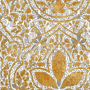 Rajkumari ~ White with Silvered and Gilt Gold ~ Batik
