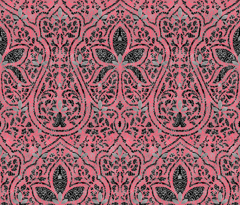 Rajkumari ~ Royal Scandal with Silvered and Black ~ Batik fabric by peacoquettedesigns on Spoonflower - custom fabric