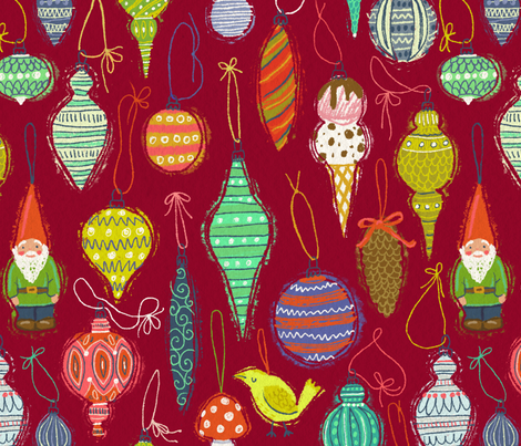 Ornaments on Burgundy fabric by kirsten_sevig on Spoonflower - custom fabric