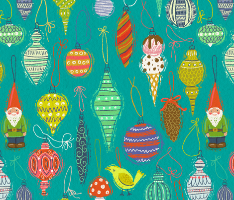 Ornaments on Turquoise fabric by kirsten_sevig on Spoonflower - custom fabric