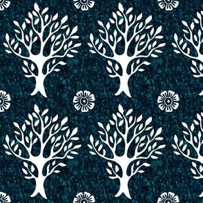 White tree and flower stamp - texture-STONEINLAY