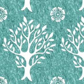White tree and flower stamp - texture-MINAGREEN