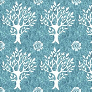 White tree and flower stamp - texture-PERSIANBLUE